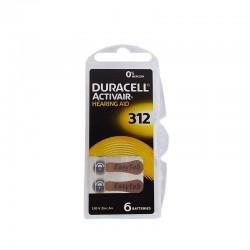 PILHA AUDITIVA Nº 312 DURACELL - 1 CARTELA COM 6 BATERIAS